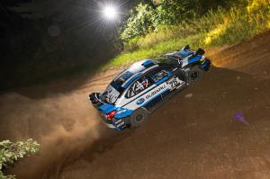 David-Higgins-and-codriver-Craig-Drew-lept-into-the-lead-of-the-Ojibwe-Forest-Rally-after-winning-all-three-night-stages-held-Friday
