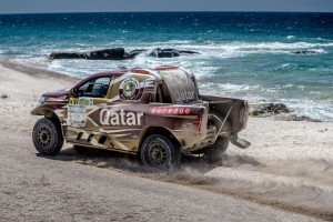Nasser Saleh Al-Attiyah on the shores of the Caspian Sea